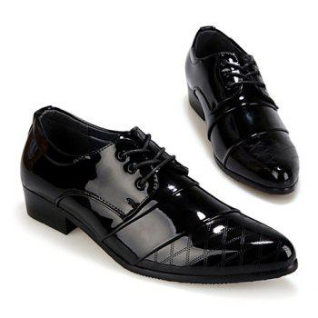 Stylish Patent Leather and Checked Design Formal Shoes For Men - BLACK 42