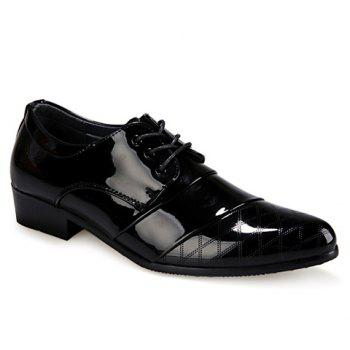 Stylish Patent Leather and Checked Design Formal Shoes For Men