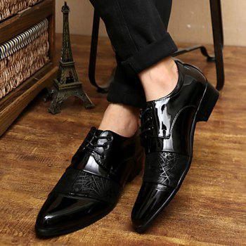Stylish Geometric Pattern and Black Design Formal Shoes For Men - BLACK 40