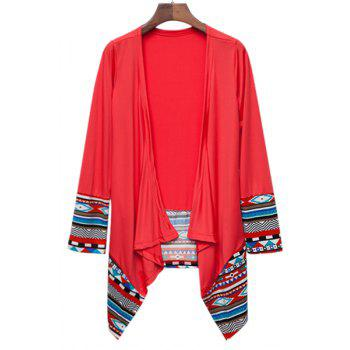 Trendy Geometric Printed Spliced Irregular Cardigan For Women - RED XL