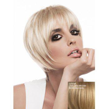 Attractive Neat Bang Capless Trendy Short Silky Straight Women's Real Natural Hair Wig - ASH BLONDE 27/613# ASH BLONDE /