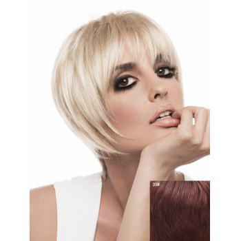 Attractive Neat Bang Capless Trendy Short Silky Straight Women's Real Natural Hair Wig