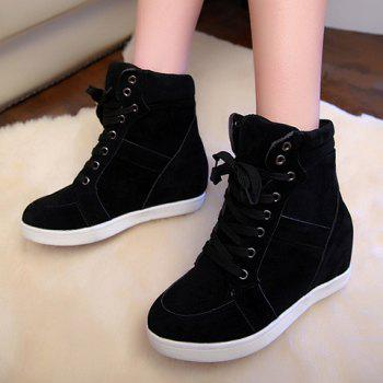 Simple Suede and Pure Color Design Athletic Shoes For Women - BLACK 35