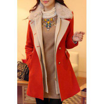 Ladylike Faux Fur Spliced Turn-Down Collar Long Sleeve Coat For Women