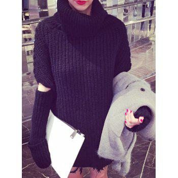 Trendy Turtleneck Convertible Pure Color Sweater For Women