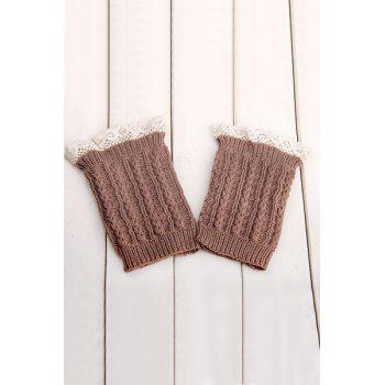 Pair of Chic Lace Embellished Herringbone Knitted Boot Cuffs For Women - KHAKI KHAKI