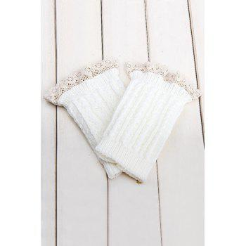 Pair of Chic Lace Embellished Herringbone Knitted Boot Cuffs For Women - WHITE WHITE