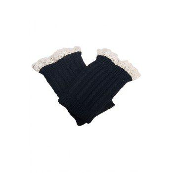 Pair of Chic Lace Embellished Herringbone Knitted Boot Cuffs For Women - BLACK BLACK