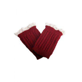 Pair of Chic Lace Embellished Herringbone Knitted Boot Cuffs For Women - RED RED