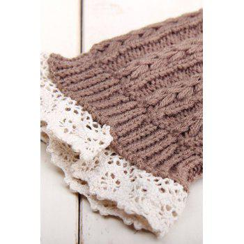 Pair of Chic Lace Embellished Herringbone Knitted Boot Cuffs For Women - KHAKI