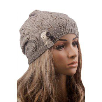 Button Hollow Out Toboggan Hat - LIGHT GRAY LIGHT GRAY
