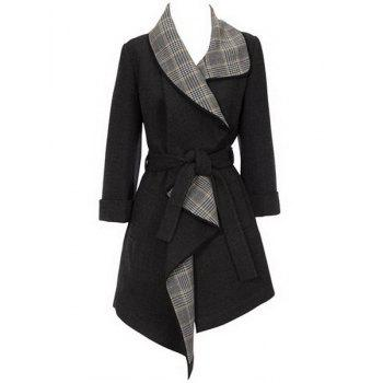 Graceful Turn-Down Collar Plaid Spliced Belt Self-Tie Wool Coat For Women
