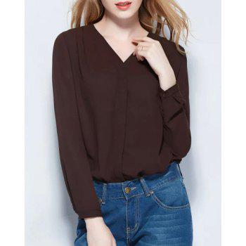 Brief Style V-Neck Long Sleeve Pure Color Chiffon Women's Blouse - COFFEE COFFEE