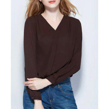 Brief Style V-Neck Long Sleeve Pure Color Chiffon Women's Blouse - COFFEE L