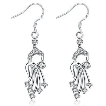 Rhinestone Silver Plated Hollow Out Drop Earrings