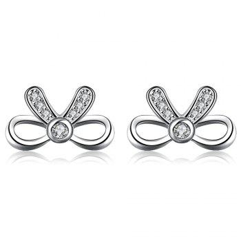 Pair of Fresh Style Bowknot Design Zircon Silver Plated Stud Earrings for Women