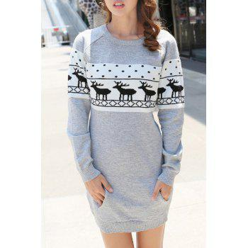 Trendy Jewel Neck Long Sleeve Christmas Sweater For Women