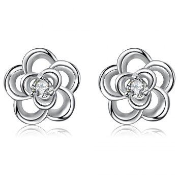 Pair of Floral Shape Zircon Silver Plated Hollow Out Stud Earrings for Women
