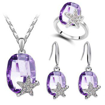 A Suit of Stylish Faux Crystal Star Necklace Ring And Earrings For Women