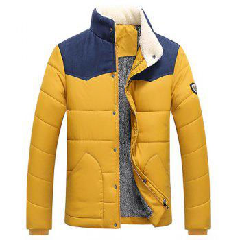 Splicing Design Flocking Stand Collar Long Sleeve Badge Men's Cotton-Padded Jacket