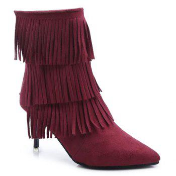 Fashionable Stiletto Heel and Pointed Toe Design Tassels Boots For Women