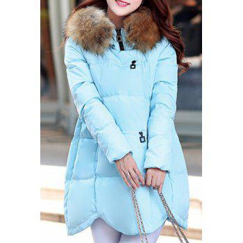 Trendy Women's Faux Fur Embellished Long Sleeves Hooded Coat