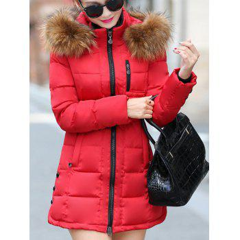 Trendy Embellished Long Sleeves Zippered Hooded Coat For Women