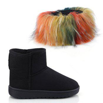 Concise Faux Fur and Suede Design Short Boots For Women