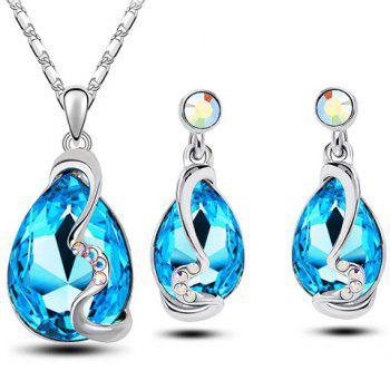Faux Crystal Water Drop Necklace and Earrings