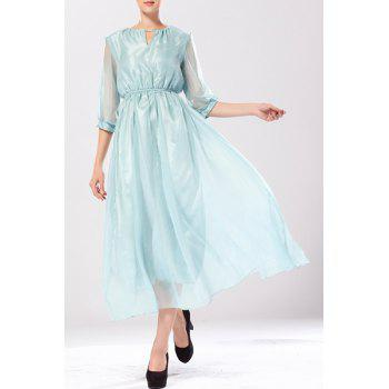 Women's Stylish 3/4 Sleeve Solid Color Keyhole Neck Dress - LIGHT BLUE L