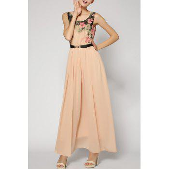 Sweet Sleeveless Scoop Neck Floral Print Chiffon Women's Dress