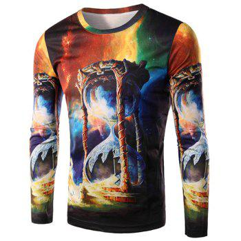 3D Colorful Sand Clock Print Round Neck Long Sleeve Men's T-Shirt