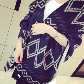Chic Rhombus Pattern Fringed Edge Women's Winter Scarf