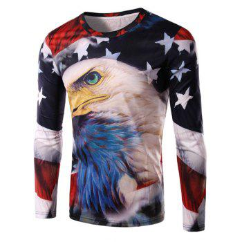 3D Eagle and Flag Print Round Neck Long Sleeve Men's T-Shirt
