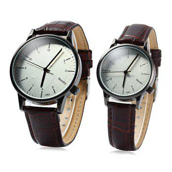 Weesky 1282 Simple Couple Quartz Watch with Leather Band