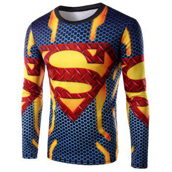 3D Logo Superman Print Round Neck Long Sleeve Men's T-Shirt