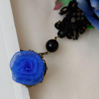 Hollow Out Flower Lace Bracelet With Ring - BLACK