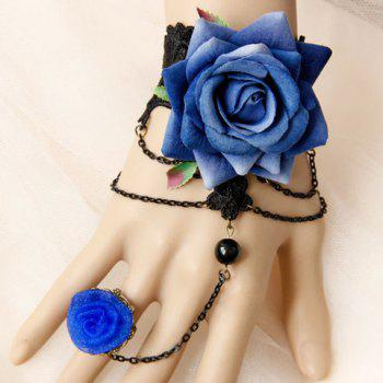 Hollow Out Flower Lace Bracelet With Ring