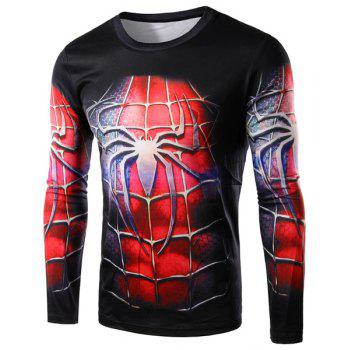 3D Spider-Man Costume Print Round Neck Long Sleeve Men's T-Shirt