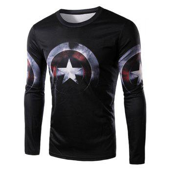 3D Captain America Shield Print Round Neck Long Sleeve Men's T-Shirt