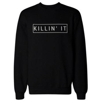 Women's Trendy Jewel Neck Long Sleeve Letter Print Sweatshirt