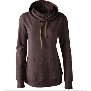 Classic Long Sleeve Hooded Solid Color Women's Pullover Hoodie