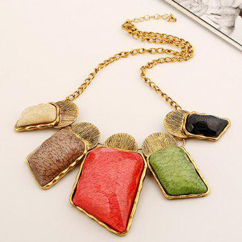 Alloy Faux Gemstone Geometric Necklace - COLORFUL