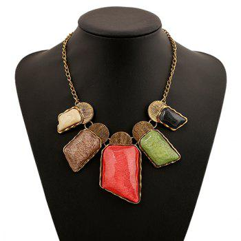 Alloy Faux Gemstone Geometric Necklace