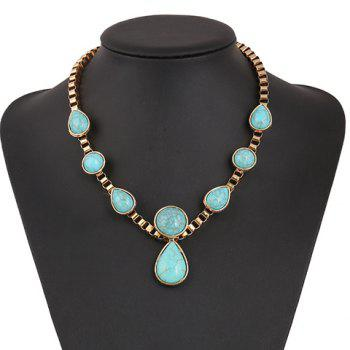 Ethnic Faux Turquoise Teardrop Necklace