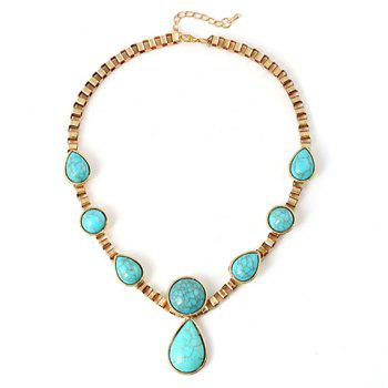 Ethnic Faux Turquoise Teardrop Necklace - TURQUOISE