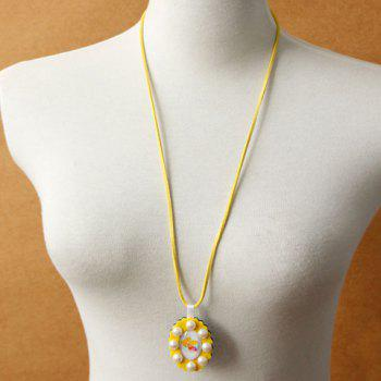 Trendy Oval Faux Pearl Sweater Chain For Women