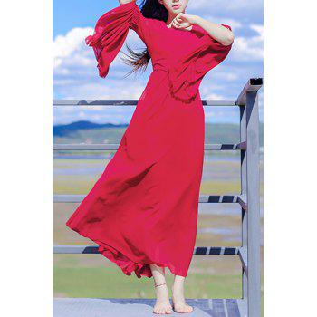 Gorgeous Red Scoop Neck High Waist Long Pleated Bell Sleeve Maxi Dress For Women