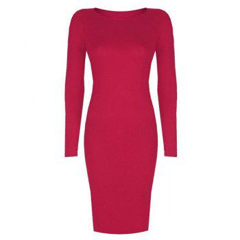 Simple Long Sleeve Round Neck Stretchy Pure Color Women's Bodycon Dress