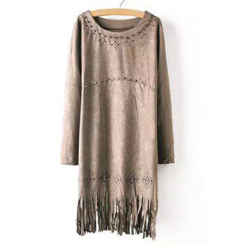 Chic Style Fringed Rivet Design Scoop Neck Long Sleeve Dress For Women